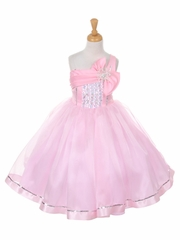 Pink One Shoulder Sparkle Organza Dress