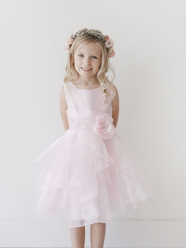 Pink Organza Layered Dress w/ Crystal Beading