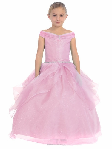 Pink Organza Off The Shoulder Gown