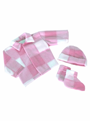 Pink Plaid Poly Fleece Bootie Set