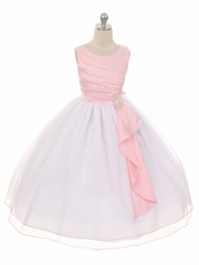 Pink Pleated Bodice w/ Double Layer Skirt Dress
