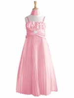 Pink Pleated Shiny Satin Long Dress