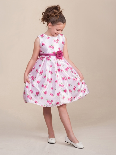 Pink Polka Dot Roses Dress w/ Waistband & Flower
