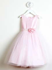 Pink Poly Dupioni Dress w/ Tulle Skirt & Adorned Waistline