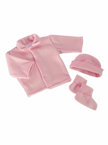 Pink Poly Fleece Bootie Set