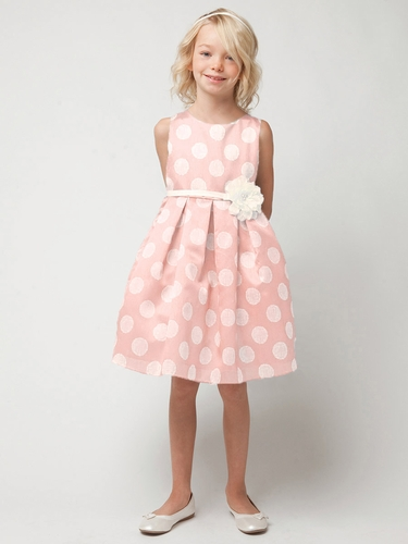 Pink Poly Silk Polka Dot Dress