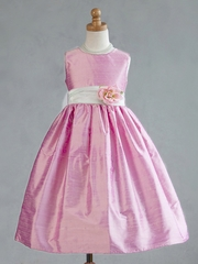 Pink Polyester Dupioni Dress w/ Mint Organza Sash
