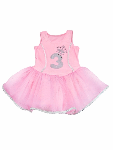 Pink Princess Birthday Tutu Dress w/ Sparkle Number Appliqué
