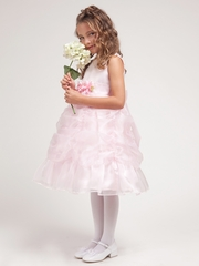 Pink Princess Gathered Organza Dress w/Satin Bodice