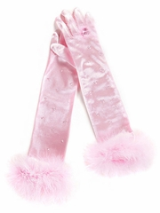 Pink Princess Marabou Gloves