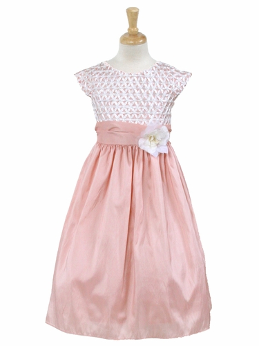 Pink Ribbon Bodice Taffeta Dress