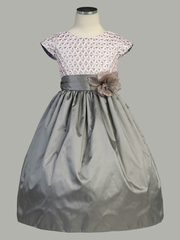 Pink Ribbon Bodice w/ Silver Taffeta Dress