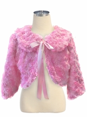 CLEARANCE - Pink Ribbon Fur Jacket w/ Collar