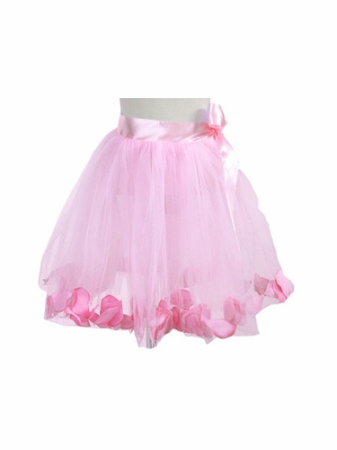 Pink Rose Petal Tutu Skirt w/ Satin Ribbon Bow