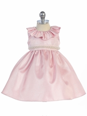 Pink Ruffle Neckline Fit & Flare Baby Dress