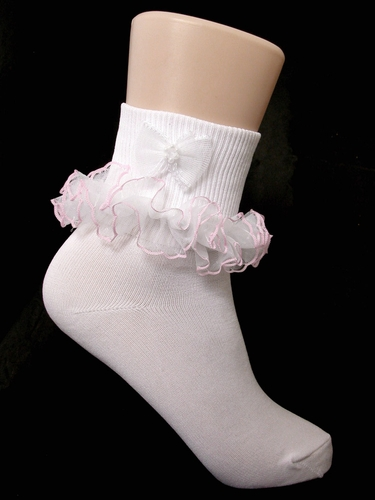 White Ruffled Girls Socks w/ Bow & Pink Trim