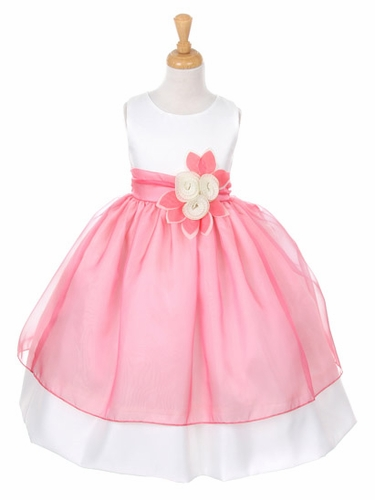 Pink Satin Dress w/ Tulle Overlay & Flowered Sash