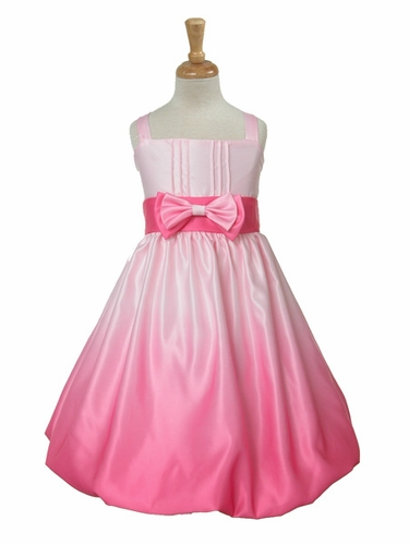 Pink Satin Ombre Bow Tie Dress