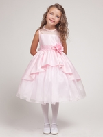 Pink Satin & Organza Layered  Dress w/Satin Bodice