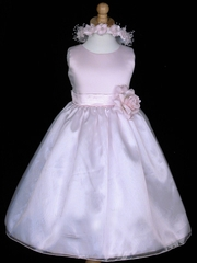 Pink Satin Organza Party Dress