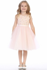 CLEARANCE - Pink Satin & Tulle Dress w/ Multi Color Hand Beaded Bodice