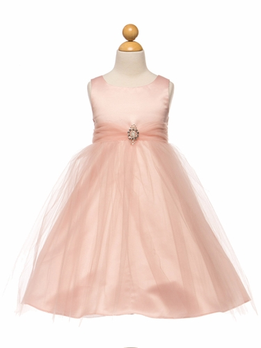 Pink Satin & Tulle Dress w/ Rhinestone Brooch