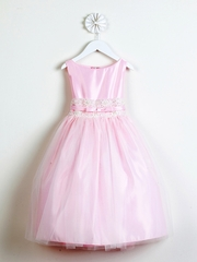 Pink Satin w/ Lace Waistband Dress