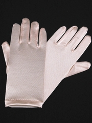 Pink Short Satin Gloves