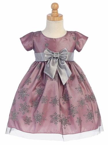 Pink & Silver Snow Flake Glitter Tulle Dress w/ Bow