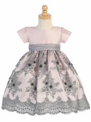 Pink & Silver Tulle Dress w/ Embroidery & Sequins
