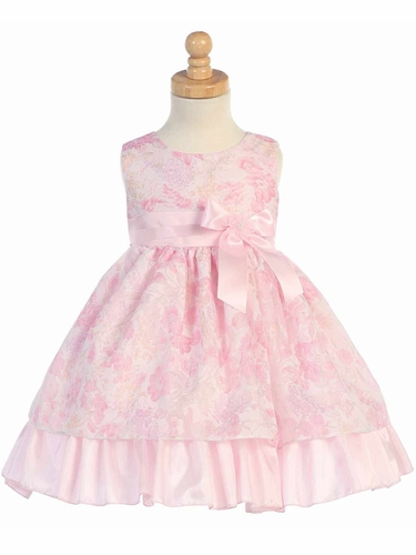 Pink Sleeveless Floral Tencel Burnout Organza Dress Dress