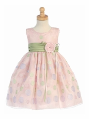 Pink Sleeveless Organza Dress w/ Polka Dot Embroidery & Sage Sash