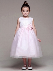 CLEARANCE - Pink Sleeveless Sequin Bodice w/ Tulle Skirt Dress