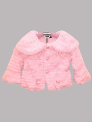 Pink Soft Faux Fur Jacket w/ Lace Trim