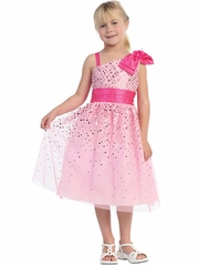 Pink Sparkle Bow Flower Girl Easter Dress