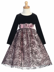 Pink Stretch Velvet Bodice w/Flocked Tulle Skirt