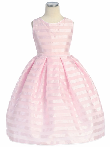 Pink Stripe Organza Box Pleat Dress