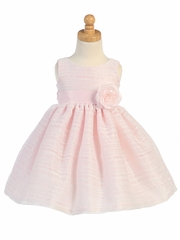 Pink Striped Organza Dress w/Flower