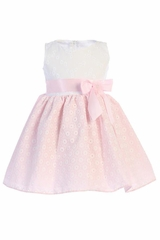Pink Swea Pea & Lilli M736 Embroidered Cotton Dress w/ Bow & Flower
