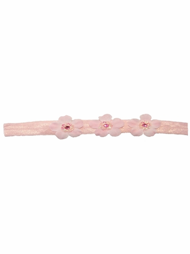 Pink Three Flower Infant Headband