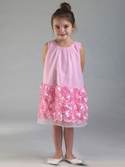 Pink Tulle Baby Doll Dress w/ Floral Trim