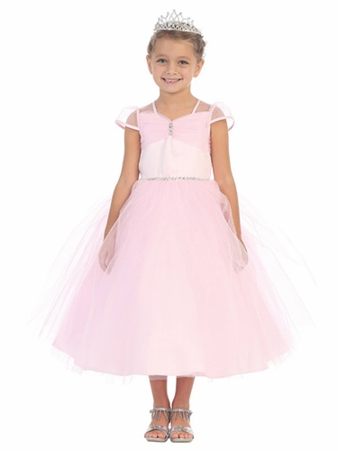 Pink Tulle Ball Gown w/ Cap Sleeve & Rhinestone Detailing