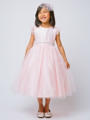 Pink Tulle Dress w/ Flutter Sleeve