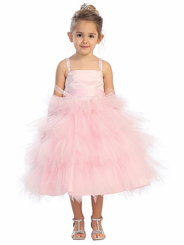 Pink Tutu Tulle Dress w/ Detachable Sash