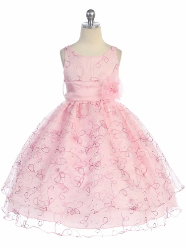 Pink Two Layer Embroidered Organza Dress