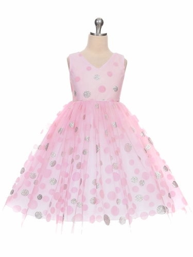 Pink V-Neck Polka Dot Tulle Overlay Dress
