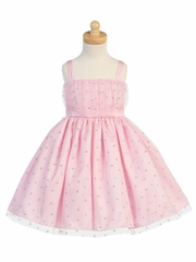 Pink Valentine Tulle Dress w/ Glittered Hearts Design