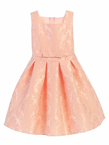 CLEARANCE - Pink Vintage Baroque Pleated Jacquard Dress