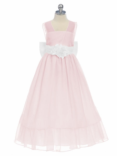 Pink/White Sweet Beginnings Chiffon Dress