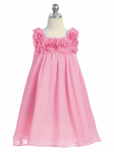 Pink Yoryu Chiffon Dress w/ Rose Buds
